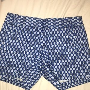 J. Crew City Fit Chino Shorts Blue/White Pattern